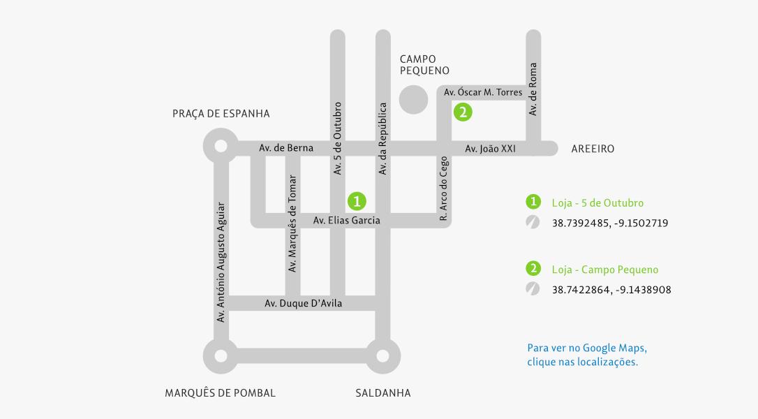 Mapa de localização das lojas do Oculista das Avenidas